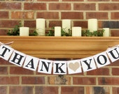 Thank You Wedding Banner Reception Photo Prop Custom Colors Word Sign