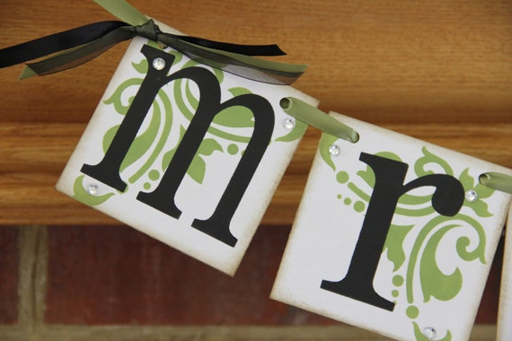 Mr. and Mrs. Wedding Banners Reception Sign Wedding Decoration Chair Sign CUSTOM COLORS