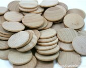 "50 Unfinished Wood Discs Coins Circles - 1.5"" (3.8cm) Diameter"