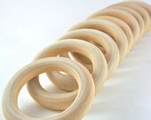 10 Wood Rings - 3 inch Unfinished Wooden Rings - DIY