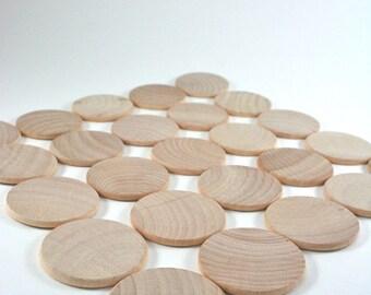 "25 Unfinished Wood Discs Coins Circles - 1.5"" (3.8cm) Diameter"