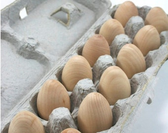 Wooden Eggs | DIY Unfinished Wooden Easter Eggs, Natural Wood Eggs (Pullet size, 2 inch egg)