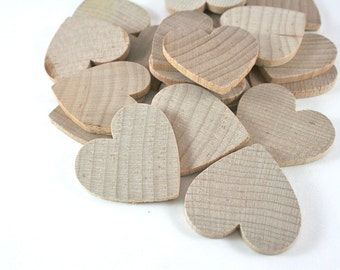 12 Unfinished Wood Hearts - 1 3/8 inch Wooden Hearts