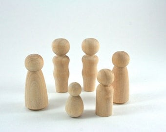 6 Wood Peg Dolls - DIY Paint It Yourself Figures - Waldorf Wooden Figurine - 6 Person Family Set