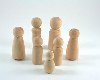 7 Wood Peg Dolls - DIY Paint It Yourself Figures - Waldorf Wooden Figurine - 7 Person Family Set
