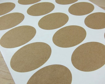 "Oval Kraft Labels - Brown Kraft Stickers 2.5"" x 1.75"" (Printable)"