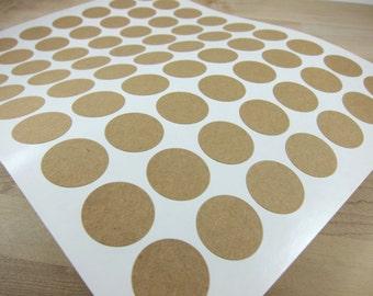 1 inch Round Kraft Labels - Brown Kraft Stickers (Printable)