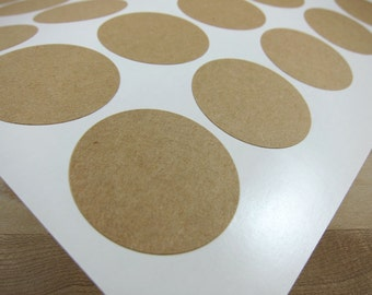 Round Kraft Labels - 1.5 inch Circles Brown Kraft Stickers - Printable