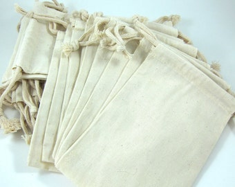 25 Large Cotton Muslin Bags Pouches (5 by 8 inch) for Jewelry, Gift Bag, Wedding Favors