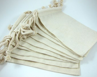 Large Muslin Bags Cotton Pouches (5 by 8 inch) for Jewelry, Gift Bag, Wedding Favors - Set of 10