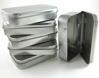 6 Steel Metal Boxes Hinged Rectangular Tins - Wedding Favor Boxes Mint Tins