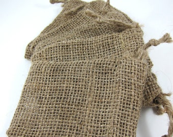 5 Burlap Bags Pouches (3.5 by 5 inch) for Woodland Wedding Favors, Jewelry, Gift Bag
