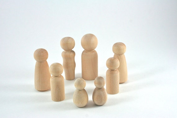 8 Wood Peg Dolls - DIY Paint It Yourself Figures - Waldorf Wooden Figurine - 8 Person Family Set