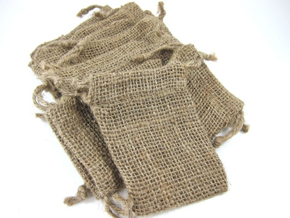 10 Burlap Bags Pouches (3.5 by 5 inch) for Woodland Wedding Favors, Jewelry, Gift Bag