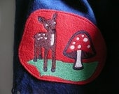 Darkblue scarf w/ fringe, a deer and fly agaric-patchand colourful closure