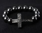 Marcasite bead Cross Bracelet