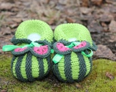 WATERMELON baby booties/ Hand Knitted Baby Booties/ green and dark green