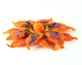 Felted flower brooch / Orange Lilac flower brooch