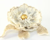 White Gold Felted flower brooch / White Gold Felted brooch - TaniaSh