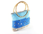 "Crochet bag ""Ocean"" with two handles decorated with buttons and beads / beige blue and turquoise colors /OOAK"