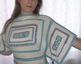 Crochet Tunic / white lilac turquoise aqua / with tassels / winter fashion / Ready to ship