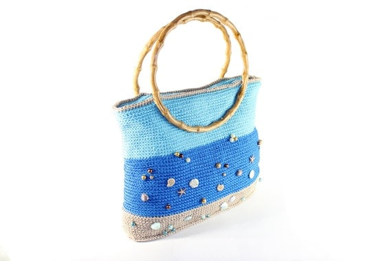 """Crochet bag """"Ocean"""" with two handles decorated with buttons and beads / beige blue and turquoise colors /OOAK"""