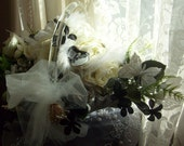 CLEARANCE/Fenton white and crystal glass basket with Butterflies Bridal Bouquet