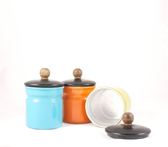 Vintage retro tin can set of three