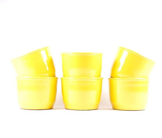 Vintage retro cups: six ceramic cups