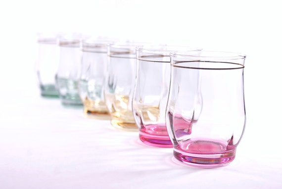 Vintage pastel glasses. Set of six.