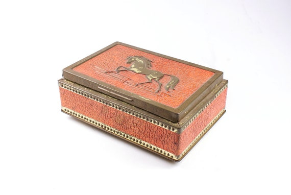 Vintage gold and tangerine tin box with horse