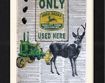 "John Deere ""Deer Tracks""- John Deere Prints, Mixed Media print on 8x10 Vintage Dictionary Page Print, John Deere Decor, John Deere Green"