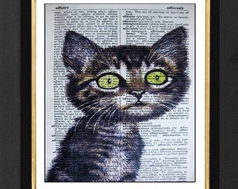 "Cat Picture ""Le Kitty""-Cat Humor Prints, Mixed Media print on 5.5 x 8  onFrench Dictionary page, French Dictionary art, Dictionary Art Print"