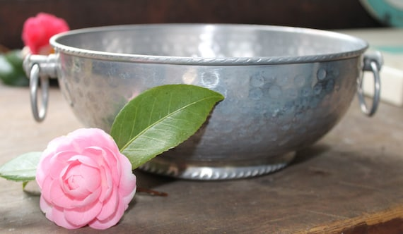 Vintage Mid-Century Aluminum Hammered Footed Serving Bowl