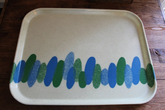 Vintage 1960s Cambro Camtray Fiberglass Tray with Blue and Green Mod Design