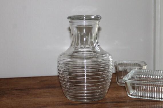 Vintage Anchor Hocking Park Avenue Art Deco Style Glass Carafe