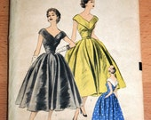 Reserved...Uncut Vintage 1950s V-Neck Cocktail Dress Pattern Advance 6485 Size 16 Bust 34