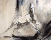 "Horse Art Painting White Andalusian Baroque Equine Galloping into Abstract  Landscape ""Dad's Horse"" Print"