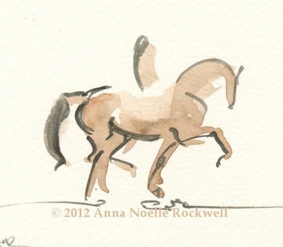 "RESERVED-Horse Art Painting, Original Watercolor,Trotting Dressage Stallion, Framed-""Hi Action"""