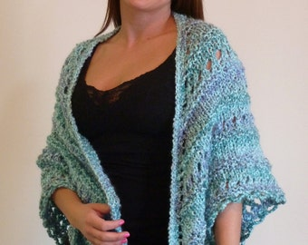 Shawl; Triangle Knit Shawl, Lacey Hand Knit Wrap, Comfort Shawl, Prayer Shawl - WATERFALL denim & lt sky blue