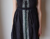 Black Peasant Dress with Embroidery