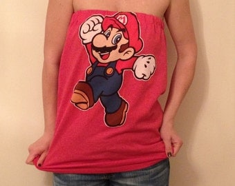 Women's Red Super Mario Brothers Mario Tube Top Tee Shirt