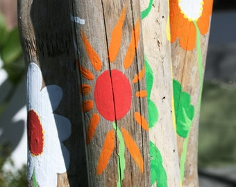 Flower Themed Driftwood Wind Chime with Bright Pink, Orange, Red, and Whites (Made to Order)