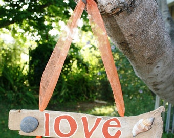Hanging LOVE Driftwood Art with Shell & Beach Stone-- Great Gift for Valentine's Day, Anniversary