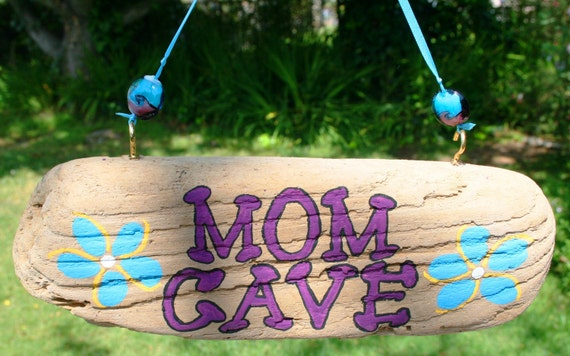 MOM CAVE Driftwood Sign with Bright Blue Plumeria Themed Flowers & Colorful Glass Fused Beads (Made to Order)