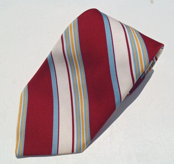 1960's Wide White Tie with Gold Burgundy and Blue Diagonals