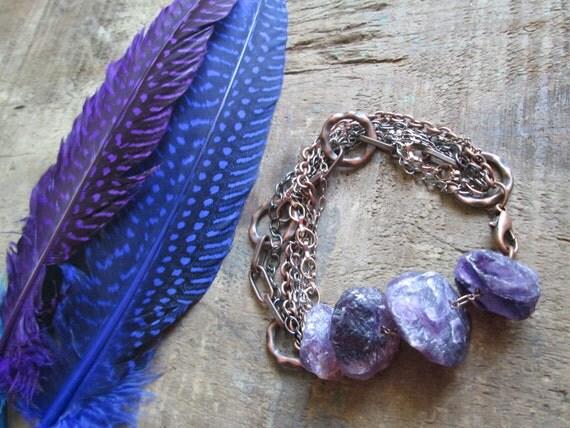 Dark Horizon- Hammered Raw Amethyst & Multi- Chain Bracelet