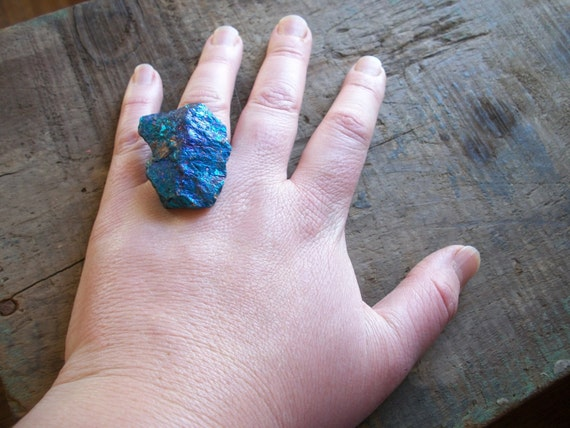 Azure- Natural, Raw, Extra- Large Iridescent Peacock Ore Adjustable Ring
