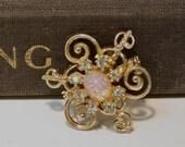 Vintage faux opal and rhinestone brooch