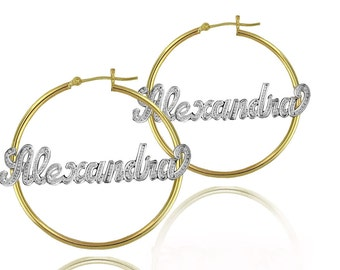 Handmade Name Earrings with Diamond Beading Imitation (order any name) - 24K Yellow Gold, Platinum & Sterling Silver